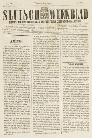 Sluisch Weekblad. Nieuws- en advertentieblad voor Westelijk Zeeuwsch-Vlaanderen 1874-10-06