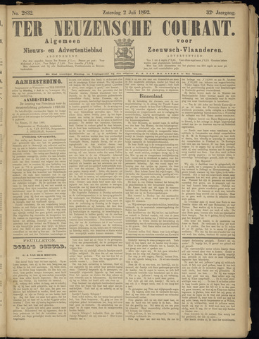 Ter Neuzensche Courant. Algemeen Nieuws- en Advertentieblad voor Zeeuwsch-Vlaanderen / Neuzensche Courant ... (idem) / (Algemeen) nieuws en advertentieblad voor Zeeuwsch-Vlaanderen 1892-07-02