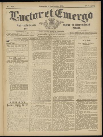 Luctor et Emergo. Antirevolutionair nieuws- en advertentieblad voor Zeeland / Zeeuwsch-Vlaanderen. Orgaan ter verspreiding van de christelijke beginselen in Zeeuwsch-Vlaanderen 1913-09-10