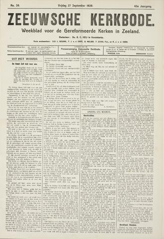 Zeeuwsche kerkbode, weekblad gewijd aan de belangen der gereformeerde kerken/ Zeeuwsch kerkblad 1929-09-27