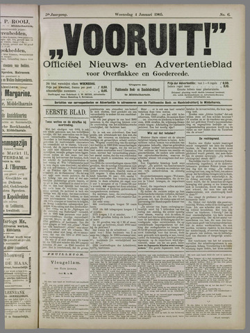 """""""Vooruit!""""Officieel Nieuws- en Advertentieblad voor Overflakkee en Goedereede 1905-01-04"""