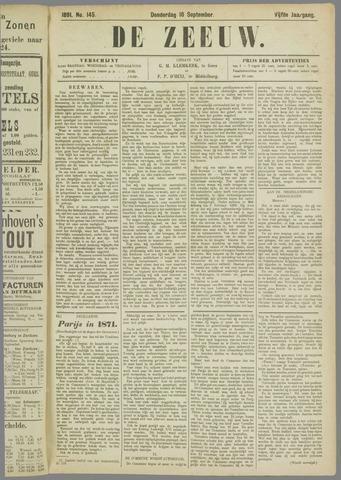 De Zeeuw. Christelijk-historisch nieuwsblad voor Zeeland 1891-09-10