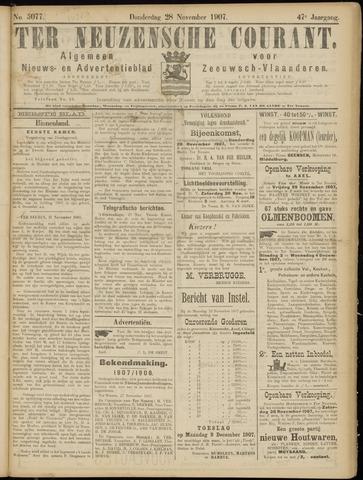 Ter Neuzensche Courant. Algemeen Nieuws- en Advertentieblad voor Zeeuwsch-Vlaanderen / Neuzensche Courant ... (idem) / (Algemeen) nieuws en advertentieblad voor Zeeuwsch-Vlaanderen 1907-11-28