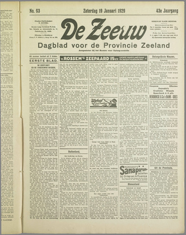 De Zeeuw. Christelijk-historisch nieuwsblad voor Zeeland 1929-01-19