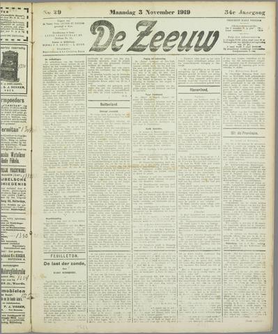 De Zeeuw. Christelijk-historisch nieuwsblad voor Zeeland 1919-11-03
