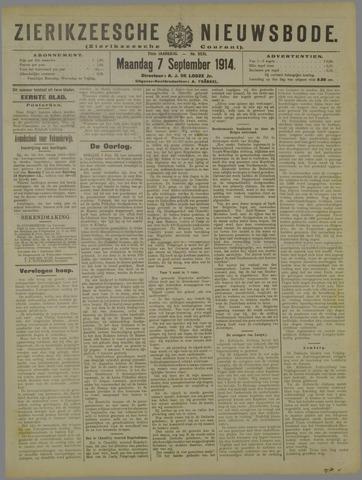 Zierikzeesche Nieuwsbode 1914-09-07