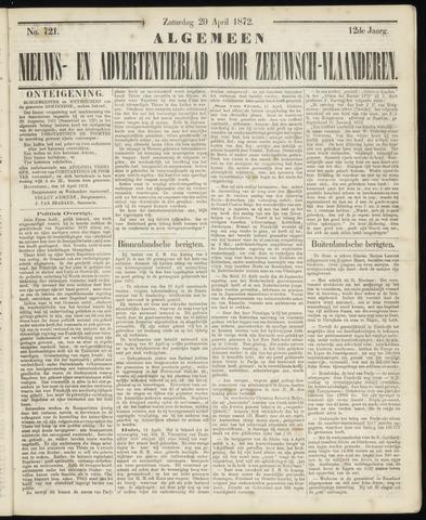 Ter Neuzensche Courant. Algemeen Nieuws- en Advertentieblad voor Zeeuwsch-Vlaanderen / Neuzensche Courant ... (idem) / (Algemeen) nieuws en advertentieblad voor Zeeuwsch-Vlaanderen 1872-04-20