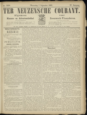Ter Neuzensche Courant. Algemeen Nieuws- en Advertentieblad voor Zeeuwsch-Vlaanderen / Neuzensche Courant ... (idem) / (Algemeen) nieuws en advertentieblad voor Zeeuwsch-Vlaanderen 1887-09-07