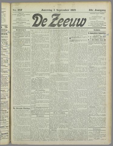 De Zeeuw. Christelijk-historisch nieuwsblad voor Zeeland 1918-09-07