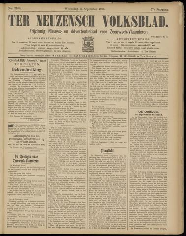 Ter Neuzensch Volksblad. Vrijzinnig nieuws- en advertentieblad voor Zeeuwsch- Vlaanderen / Zeeuwsch Nieuwsblad. Nieuws- en advertentieblad voor Zeeland 1916-09-13