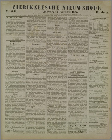 Zierikzeesche Nieuwsbode 1885-02-14