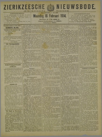 Zierikzeesche Nieuwsbode 1914-02-16