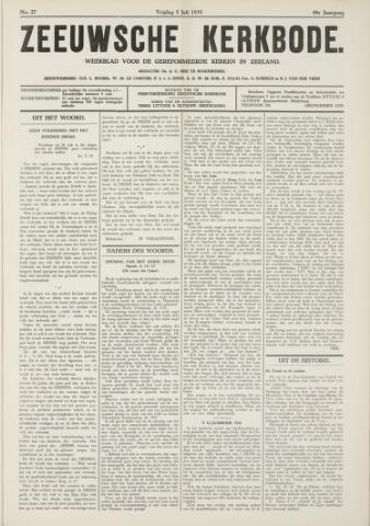 Zeeuwsche kerkbode, weekblad gewijd aan de belangen der gereformeerde kerken/ Zeeuwsch kerkblad 1935-07-05
