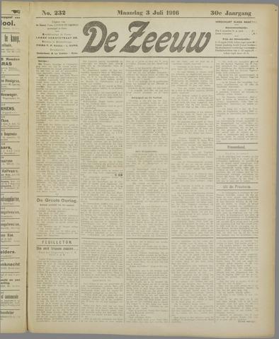 De Zeeuw. Christelijk-historisch nieuwsblad voor Zeeland 1916-07-03