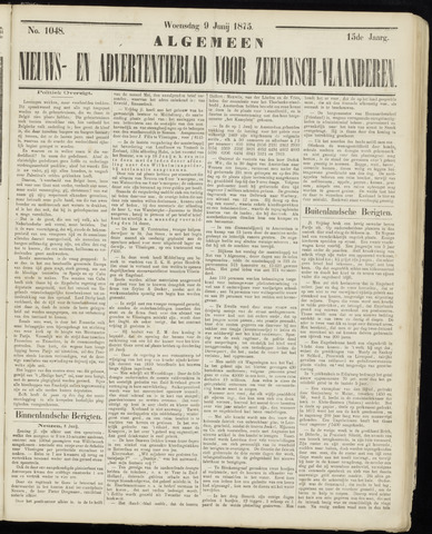 Ter Neuzensche Courant. Algemeen Nieuws- en Advertentieblad voor Zeeuwsch-Vlaanderen / Neuzensche Courant ... (idem) / (Algemeen) nieuws en advertentieblad voor Zeeuwsch-Vlaanderen 1875-06-09