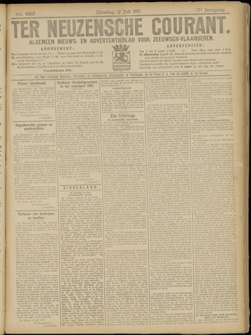 Ter Neuzensche Courant. Algemeen Nieuws- en Advertentieblad voor Zeeuwsch-Vlaanderen / Neuzensche Courant ... (idem) / (Algemeen) nieuws en advertentieblad voor Zeeuwsch-Vlaanderen 1917-07-17
