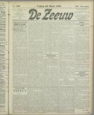 De Zeeuw. Christelijk-historisch nieuwsblad voor Zeeland 1920-03-26