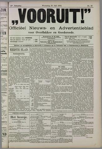 """""""Vooruit!""""Officieel Nieuws- en Advertentieblad voor Overflakkee en Goedereede 1912-07-31"""