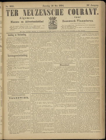 Ter Neuzensche Courant. Algemeen Nieuws- en Advertentieblad voor Zeeuwsch-Vlaanderen / Neuzensche Courant ... (idem) / (Algemeen) nieuws en advertentieblad voor Zeeuwsch-Vlaanderen 1894-05-26