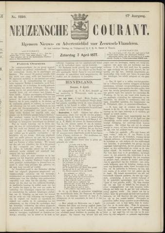 Ter Neuzensche Courant. Algemeen Nieuws- en Advertentieblad voor Zeeuwsch-Vlaanderen / Neuzensche Courant ... (idem) / (Algemeen) nieuws en advertentieblad voor Zeeuwsch-Vlaanderen 1877-04-07