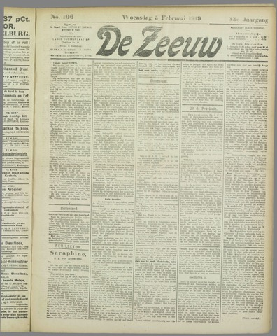 De Zeeuw. Christelijk-historisch nieuwsblad voor Zeeland 1919-02-05