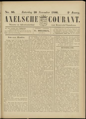 Axelsche Courant 1886-11-20