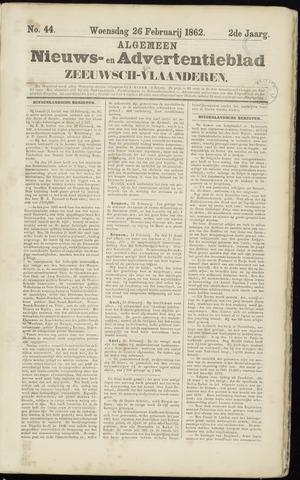 Ter Neuzensche Courant. Algemeen Nieuws- en Advertentieblad voor Zeeuwsch-Vlaanderen / Neuzensche Courant ... (idem) / (Algemeen) nieuws en advertentieblad voor Zeeuwsch-Vlaanderen 1862-02-26