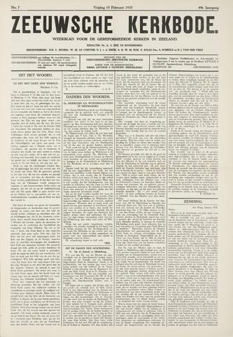 Zeeuwsche kerkbode, weekblad gewijd aan de belangen der gereformeerde kerken/ Zeeuwsch kerkblad 1935-02-15