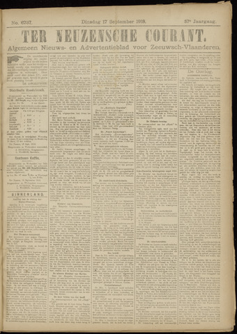 Ter Neuzensche Courant. Algemeen Nieuws- en Advertentieblad voor Zeeuwsch-Vlaanderen / Neuzensche Courant ... (idem) / (Algemeen) nieuws en advertentieblad voor Zeeuwsch-Vlaanderen 1918-09-17