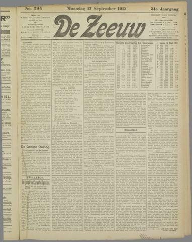 De Zeeuw. Christelijk-historisch nieuwsblad voor Zeeland 1917-09-17