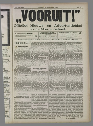 """""""Vooruit!""""Officieel Nieuws- en Advertentieblad voor Overflakkee en Goedereede 1913-09-17"""