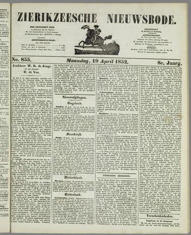 Zierikzeesche Nieuwsbode 1852-04-19