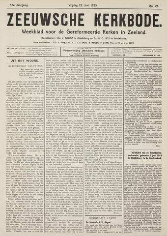 Zeeuwsche kerkbode, weekblad gewijd aan de belangen der gereformeerde kerken/ Zeeuwsch kerkblad 1923-06-22