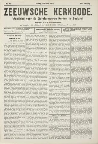 Zeeuwsche kerkbode, weekblad gewijd aan de belangen der gereformeerde kerken/ Zeeuwsch kerkblad 1929-10-04
