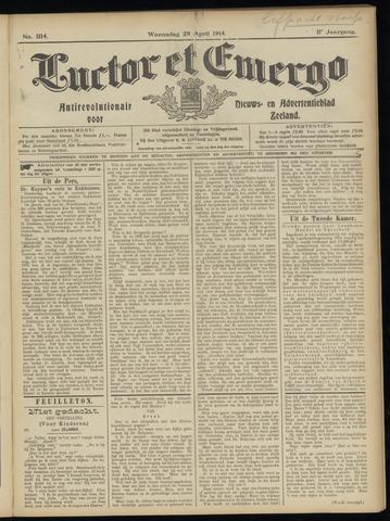 Luctor et Emergo. Antirevolutionair nieuws- en advertentieblad voor Zeeland / Zeeuwsch-Vlaanderen. Orgaan ter verspreiding van de christelijke beginselen in Zeeuwsch-Vlaanderen 1914-04-29