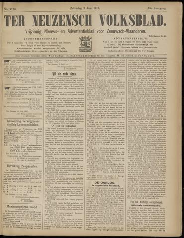 Ter Neuzensch Volksblad. Vrijzinnig nieuws- en advertentieblad voor Zeeuwsch- Vlaanderen / Zeeuwsch Nieuwsblad. Nieuws- en advertentieblad voor Zeeland 1917-06-02