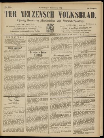 Ter Neuzensch Volksblad. Vrijzinnig nieuws- en advertentieblad voor Zeeuwsch- Vlaanderen / Zeeuwsch Nieuwsblad. Nieuws- en advertentieblad voor Zeeland 1912-09-25