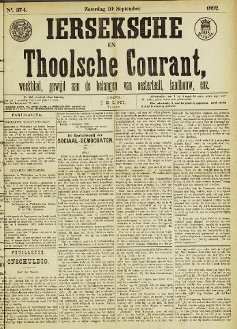 Ierseksche en Thoolsche Courant 1892-09-10