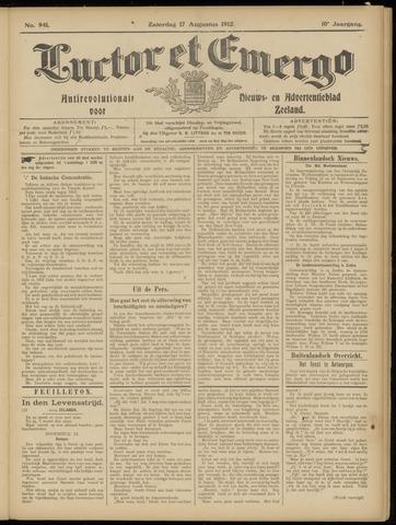 Luctor et Emergo. Antirevolutionair nieuws- en advertentieblad voor Zeeland / Zeeuwsch-Vlaanderen. Orgaan ter verspreiding van de christelijke beginselen in Zeeuwsch-Vlaanderen 1912-08-17