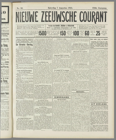 Nieuwe Zeeuwsche Courant 1915-08-07