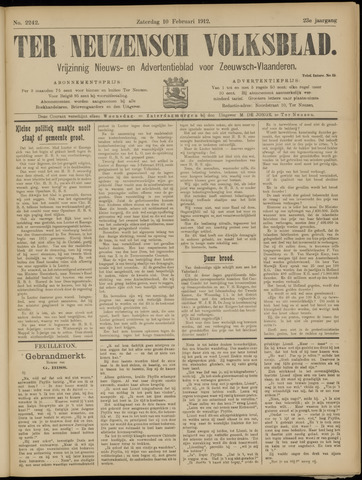 Ter Neuzensch Volksblad. Vrijzinnig nieuws- en advertentieblad voor Zeeuwsch- Vlaanderen / Zeeuwsch Nieuwsblad. Nieuws- en advertentieblad voor Zeeland 1912-02-10