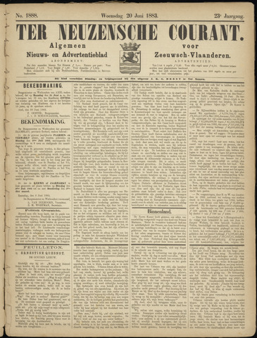 Ter Neuzensche Courant. Algemeen Nieuws- en Advertentieblad voor Zeeuwsch-Vlaanderen / Neuzensche Courant ... (idem) / (Algemeen) nieuws en advertentieblad voor Zeeuwsch-Vlaanderen 1883-06-20