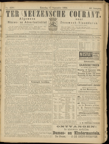 Ter Neuzensche Courant. Algemeen Nieuws- en Advertentieblad voor Zeeuwsch-Vlaanderen / Neuzensche Courant ... (idem) / (Algemeen) nieuws en advertentieblad voor Zeeuwsch-Vlaanderen 1904-09-17