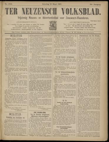 Ter Neuzensch Volksblad. Vrijzinnig nieuws- en advertentieblad voor Zeeuwsch- Vlaanderen / Zeeuwsch Nieuwsblad. Nieuws- en advertentieblad voor Zeeland 1917-03-10