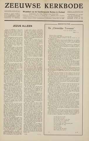 Zeeuwsche kerkbode, weekblad gewijd aan de belangen der gereformeerde kerken/ Zeeuwsch kerkblad 1957-08-16