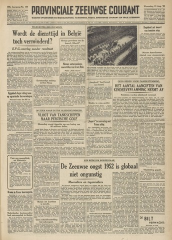 Provinciale Zeeuwse Courant 1952-08-13