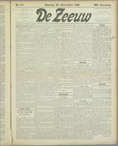 De Zeeuw. Christelijk-historisch nieuwsblad voor Zeeland 1921-12-27