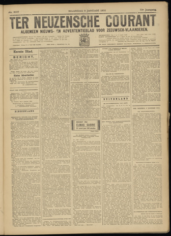 Ter Neuzensche Courant. Algemeen Nieuws- en Advertentieblad voor Zeeuwsch-Vlaanderen / Neuzensche Courant ... (idem) / (Algemeen) nieuws en advertentieblad voor Zeeuwsch-Vlaanderen 1933-01-09