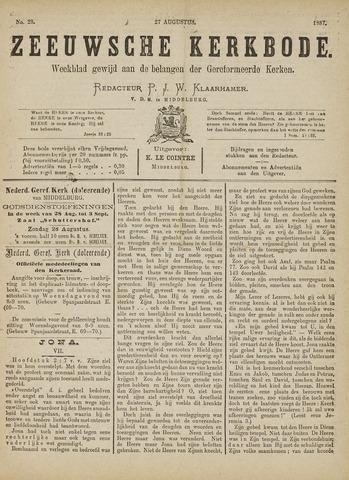 Zeeuwsche kerkbode, weekblad gewijd aan de belangen der gereformeerde kerken/ Zeeuwsch kerkblad 1887-08-27