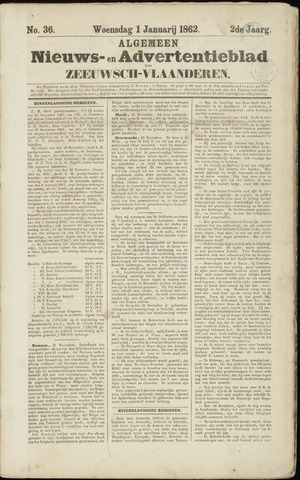 Ter Neuzensche Courant. Algemeen Nieuws- en Advertentieblad voor Zeeuwsch-Vlaanderen / Neuzensche Courant ... (idem) / (Algemeen) nieuws en advertentieblad voor Zeeuwsch-Vlaanderen 1862